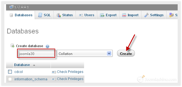 criar database